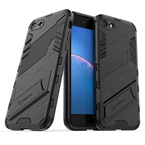 LaimTop Armadura Carcasa para iPhone 7 / iPhone 8 / iPhone SE 2020, 2 in 1 Dura PC + Suave TPU Bumper Híbrida Antigolpes Funda Protectora con Función Atril para iPhone 7/8 / SE 2020 Negro
