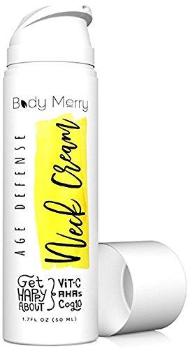 Body Merry Age Defense Crème Pour Le Cou - Serrage Anti-Rides Et Cou Rafraîchissant Aha Lotion W Glycolic Acid + Vitamine C + Coq10 - Peut Être Utilisé Comme Hydratant Visage Quotidien