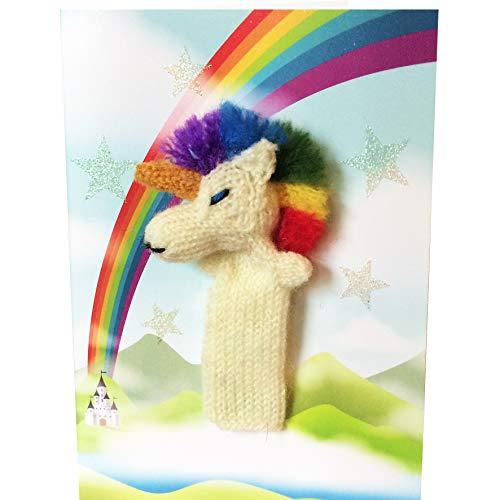 Little Fingy - Tarjeta de felicitación para niños (2 en 1, hecha a mano, diseño de unicornio arcoíris, interior en blanco