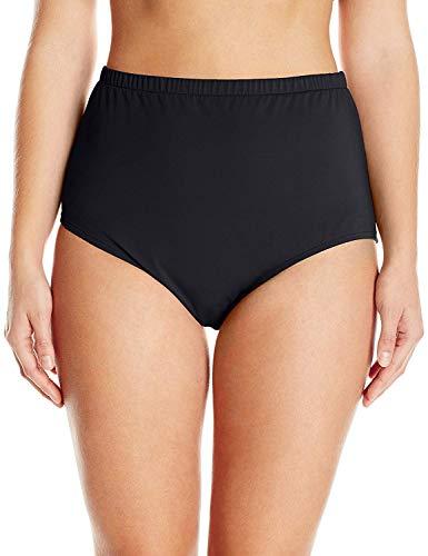 Maxine Of Hollywood Women's Plus-Size High Waist Hipster Bikini Swimsuit Bottom, Black, 24W