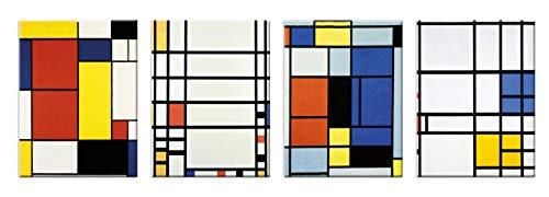 LuxHomeDecor - Cuadros Piet Mondrian, 4 Unidades, 40 x 30 cm, impresión sobre Lienzo con Marco de Madera, Arte Decorativo