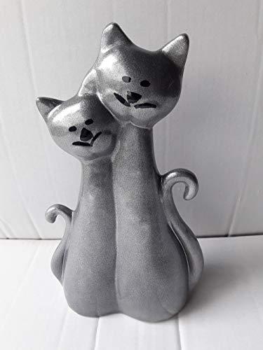 Tierurne in Form Einer Katze aus Keramik Dekor grau-metallicfarben