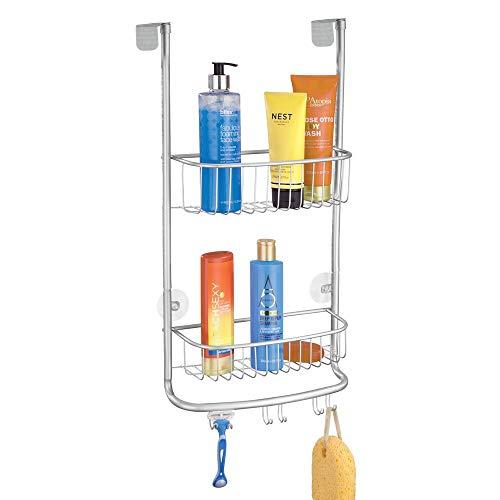 mDesign Duschablage zum Hängen – praktisches Duschregal ohne Bohren aus Metall – 2 Duschkörbe zum Hängen mit 6 Haken für Duschzubehör und Rasierer – silberfarben