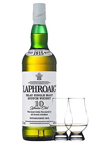 Laphroaig 10 Jahre Islay Single Malt Whisky 0,7 Liter + 2 Glencairn Gläser
