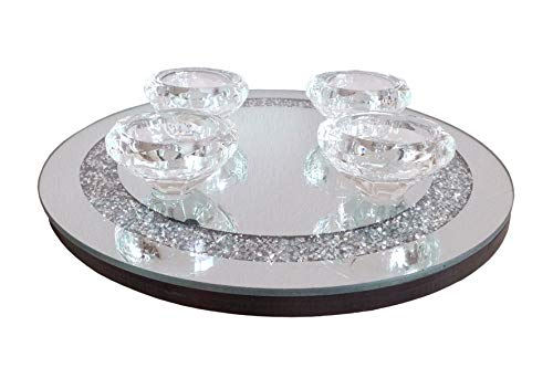 formano Dekotablett Teelichthalter Strass Spiegel Ø 25 cm Kerzentablett Brilliant Design