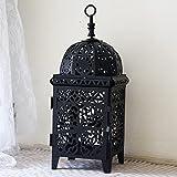 Portavelas de metal de luz de té, portavelas decorativo de metal hueco, luz de té, decoración del hogar, Marruecos, portavelas de estilo de decoración de boda (negro)