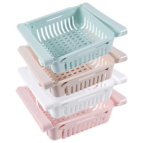 OMZGXGOD Scatola portaoggetti a cassetto a Scomparsa (4 Pezzi), Molto Adatta per frigoriferi, cucine, dispensa, contenitori frigo salvaspazio