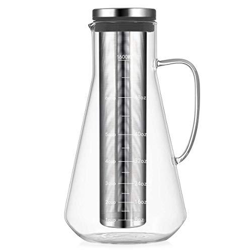 Homewit 1600 ml Wasserkaraffe mit abnehmbare Einlauffilter, Glaskaraffe aus hitzebeständigem Borosilikatglas, geeignete Temperatur -20°C~130°C, Idel für Wasser, Obstssaft, Tee, Milch, Kaffee, Wein usw