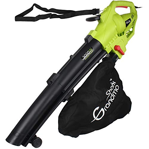 Grandma Shark Garden Leaves Hairdryer, Garden Leaves Vacuum Cleaner, Support for Breaking Leaves and Having a Large Collection Bag (Green)