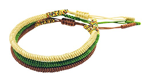 Tibetan Buddhist Handmade Lucky Knot Rope Bracelet (Set of 3 - Cream, Deep Green, Earth Brown)