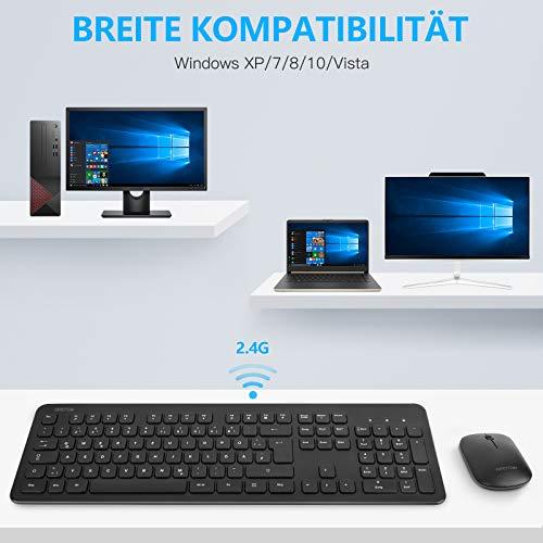 OMOTON Tastatur Maus Set Kabellos, 2.4 GHz Wireless Verbindung via USB-Empfänger, Funktastatur mit Maus Set für Windows PC/Computer/Laptop/Notebook, Deutsches QWERTZ-Layout, Schwarz