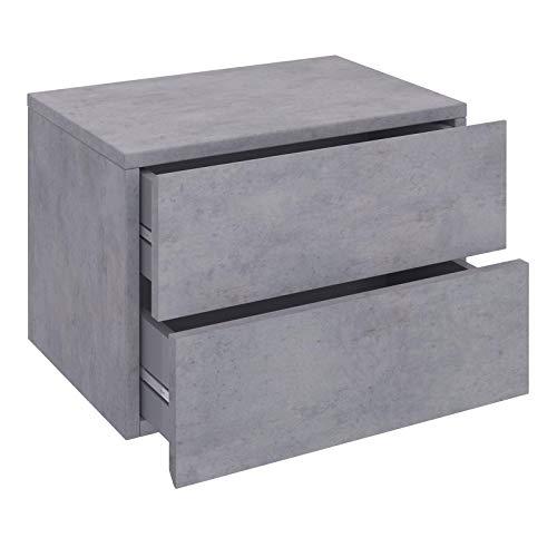 CARO-Möbel Nachtkommode ANNI Nachttisch Nachtschrank hängend Wandregal mit 2 Schubladen in Betonoptik