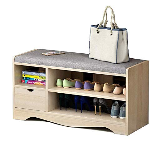 ZLININ Zapatero con 1 cajón para zapatos con asiento acolchado plegable, organizador de zapatos con 2 estantes de pie (color: madera, tamaño: 80 x 43 x 30 cm)