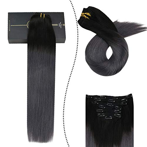 [5% Rabatt] Ugeat Clip in Tressen Echthaar Ombre Schwarz zu Silber 22zoll Double Weft Extensions 100% Human Seamless Naturliche Haarverlangerung mit Clips fur Komplette 7PCS 100Gramm/Paket
