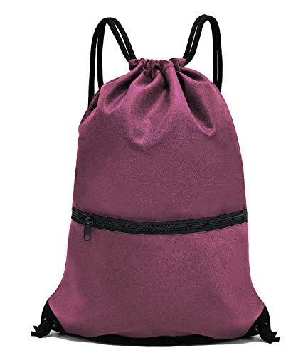 HOLYLUCK Men & Women Outdoor Sport Gym Sack Drawstring Backpack Bag - Burgundy