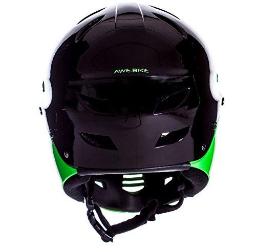 AWE® gratis 5Jahr Crash Ersatz * BMX Full Face Helm schwarz grün, Größe M 54–58cm - 4