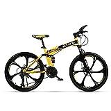 NOVOKART Mountain Bike Unisex, Bicicletas de Montaña 24 Pulgadas, para Hombre y Mujer MTB Bike con Asiento Ajustable, Freno de Doble Disco, Amarillo, 3 Cortadores Rueda, 21-Velocidad Cambio