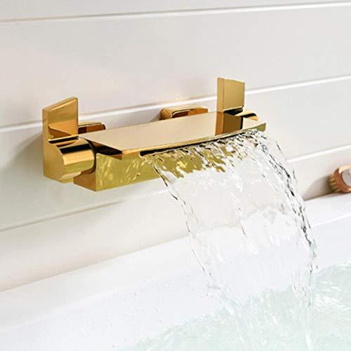Baño Ducha grifos de la bañera cascada grifo de la ducha Negro/Blanco/oro/cromo oculto montado en la pared Mezclador de bañera grifo, Oro