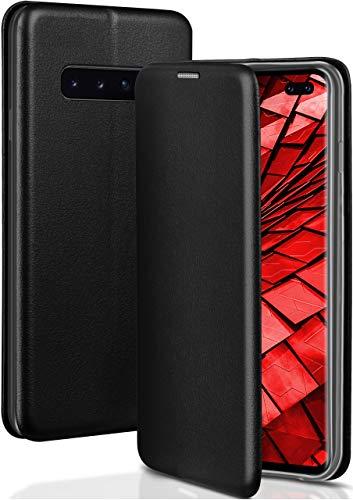 ONEFLOW Handyhülle kompatibel mit Samsung Galaxy S10 Plus - Hülle klappbar, Handytasche mit Kartenfach, Flip Hülle Call Funktion, Klapphülle in Leder Optik, Schwarz