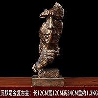彫刻 ワインクーラーの装飾リビングルームの装飾品クリエイティブオフィスベッドルームモダンな家の装飾工芸品 (Color : Gold)