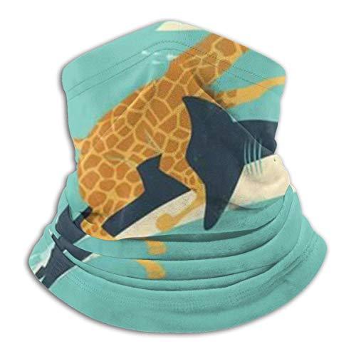 EU Lustige Giraffe reitet einen Hai Lustige Tiergesichtsmaske Schal Mikrofaser-Halswärmer für Unisex Bandanas Nahtloses halbes Gesicht