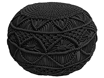 Pouf Ottoman Hand Knitted Cable Style Dori Pouf - Macramé Pouf - Floor Ottoman - 100% Cotton Braid Cord - Handmade & Hand Stitched - Truly one of a Kind Seating - 20 Diameter x 14 Height (Black)