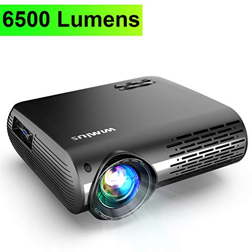 Projector, WiMiUS Upgrade 6500 Lumens Projector Native 1920x1080 Video Projector Support 4K Netflix 200'' Display, 4D ±50° Keystone Correction, Zoom Function for Movies and PPT Presentation