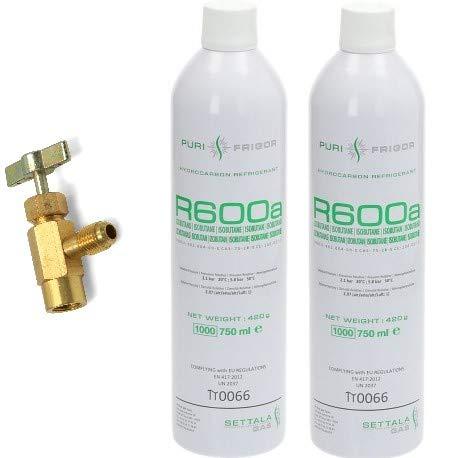 NR. 2 BOMBOLA GAS REFRIGERANTE R600A R600 420 GR + RUBINETTO - FRIGO FREEZER
