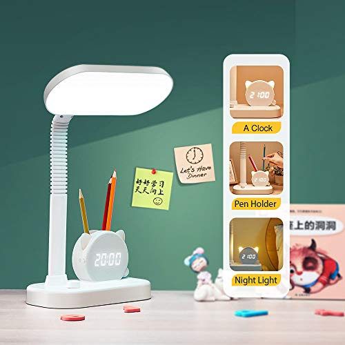 Desk Lamp Students Home Office, Small Table Led USB Charging Ports Portable Study Dorm Desk Reading Lights, Pen Holder Clock Eye Protection Battery Bright Flexible Bedside Touch Lamps White Kids