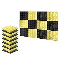 新しい12ピース 250 x 250 x 50 mm ピラミッド 吸音材 防音 吸音材質ポリウレタン SD1034 (黒と黄)