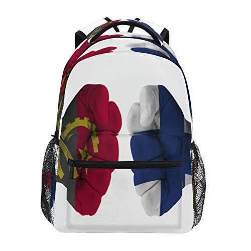 SLHFPX Middle School Backpack ANGOLA Vs FINLAND Fist Designer Medium Backpacks Bookbag for Girls