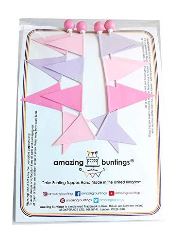 amazing buntings, Juego de 2 guirnaldas decorativas para tartas y tartas, totalmente montadas, color lila y rosa