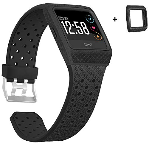 SKYLET Compatible with Fitbit Ionic Bands with Case, Soft Replacement Sport Wristband Compatible with Fitbit Ionic Smart Watch with Metal Clasp Men Women Black (No Tracker)[Black-Black]