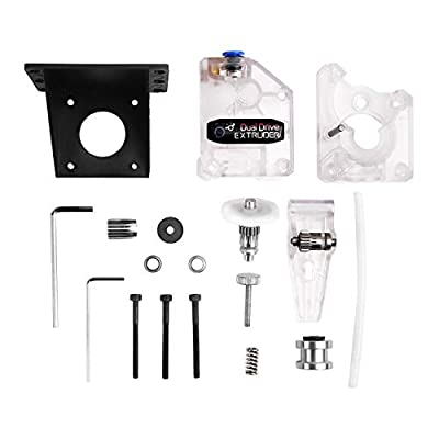 H HILABEE 3D Printer BMG Extruder, Dual Drive for 1.75 Filament for Prusa i3 MK3 CR10 Ender 3 Anet Parts, Clear