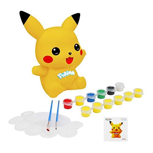 Herefun Sparschwein-Spardose Pikachu zum Basteln und Malen, Bastelset für Mädchen mit Pinseln, Malfarben Geschenke mit Pinsel, DIY Kreativ Spielzeug für Kinder Geburtstag Weihnachten (A)