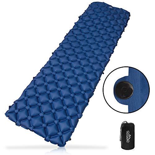 Outdoro aufblasbare Luftmatratze 2020 - Ultra-leicht, kleines Packmaß & faltbar - ideal für Camping & Outdoor Isomatte (blau)