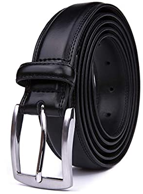 Mens Belts Fashion, 32MM Casual Belt with Pin Buckle (34, Black)