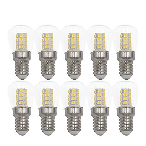3W E14 LED Birne Kühlschrank Gefrierschrank Licht, Gerätelampe, Schraubbirne, Betriebstemperatur von -20℃ bis +45℃, AC 220-240V, 3000K Warmweiß, Nicht Dimmbar, Glar Glas, 10-Packs