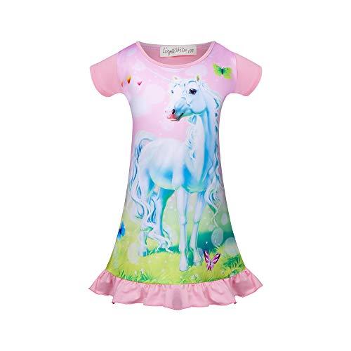 Einhorn Nachthemd für Mädchen Pferd Kleid Einhorn Prinzessin Nachthemden Kurzarm Kinder Schlafanzüge 3-4 Jahre