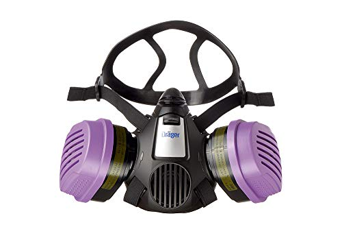 Dräger X-plore 3500 Half-Face Respirator Mask + 2x P100/Multi-Gas Combination Cartridge (OV/AG/HF/FM/CD/AM/MA/HS/P100), NIOSH-Certified, Reusable Professional Respiratory Protection Kit
