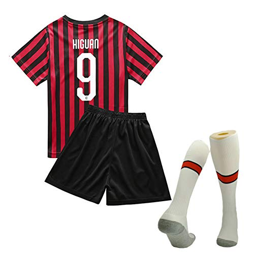 Kinderfußballtrikot, Fußball-T-Shirt Shorts Socken Trainingslager-Kits, 19-20 Mailänder Heimuniform-16