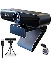Webcam 1080p Full HD Webcam met Microfoon en Privacy Cover,Webcam PC Camera Plug-And-Play,Webcam voor livestreaming,videochat,conferentie,online lessen,Compatibel Windows, Mac en Android