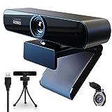 PINDOWS HD Webcam 1080P Webcam con Microfono para PC,Webcam Full HD Camara Web con Trípode y Cubierta,USB Webcam para Transmisión en Vivo,Videollamadas,Conferencias,Grabación y Juegos