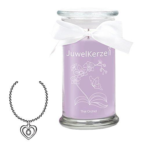 JuwelKerze Thai Orchid - Große Violette Duftkerze mit Überraschung als Geschenk für Sie (Silber Halskette & Anhänger, Brenndauer : 90-125 Stunden)