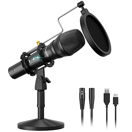 USB/XLR Cardioid Dynamic Microphone, MAONO Metal Professional Zero-Latency Monitoring Mic with Volume Control, Shock Mount and Pop Filter, Idea for Home Studio, Vocal, Podcast, Singing(HD300T)