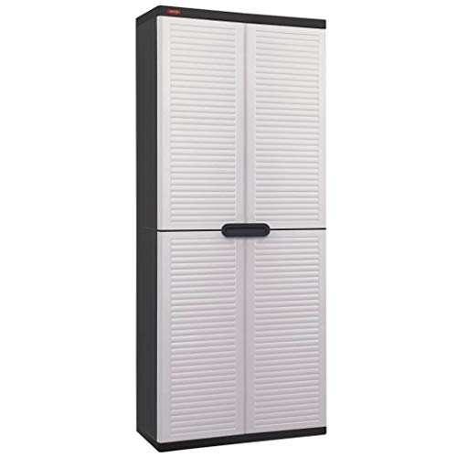Keter Garden Utility Cabinet 4 Shelves White and Black Storage Outdoor Terrace