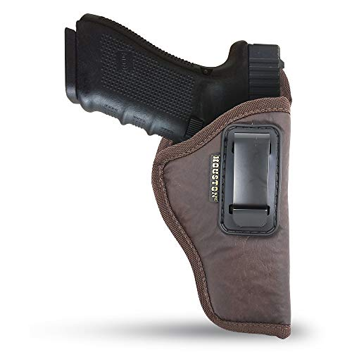 """Brown IWB Gun Holster by Houston - ECO Leather Concealed Carry Soft Material 