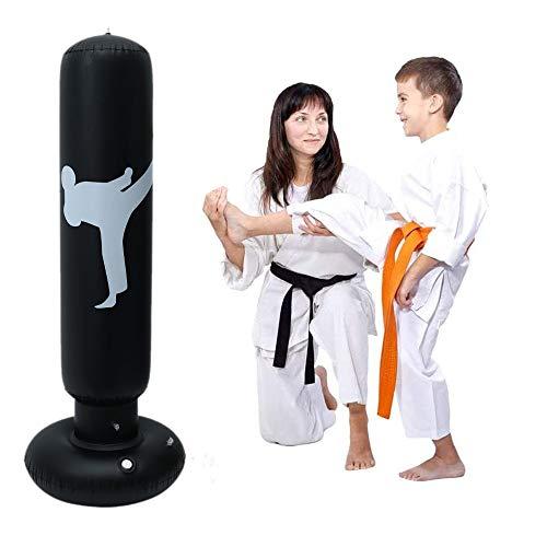 Saco de boxeo de tierra de 160 cm, saco de boxeo para practicar karate de entrenamiento para niños y adultos (negro)
