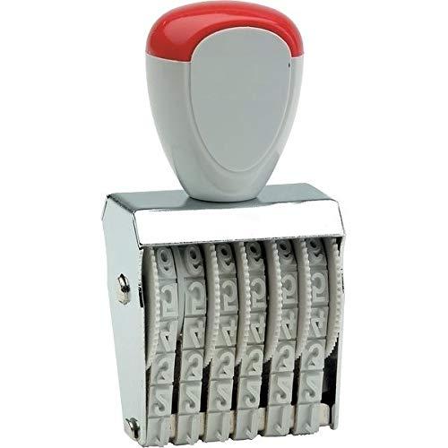 Numeratore manuale in gomma 4 mm da 6 cifre con manico e struttura in metallo