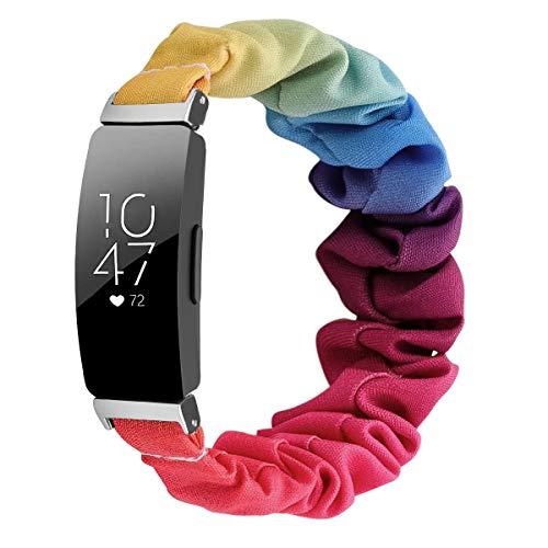 Chofit Correa compatible con Fitbit Inspire 2/Inspire HR/Inspire Correas, correa de repuesto para brazo de gasa de satén para mujer para Inspire 2 Fitness Tracker grande/pequeño (pequeño, arco iris)